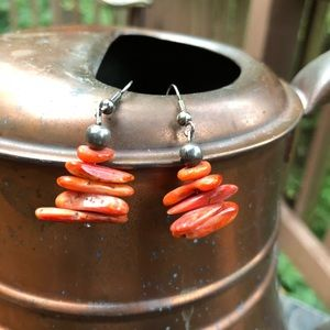 Southwest style coral earrings.